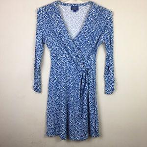 Pendleton blue floral faux wrap midi dress